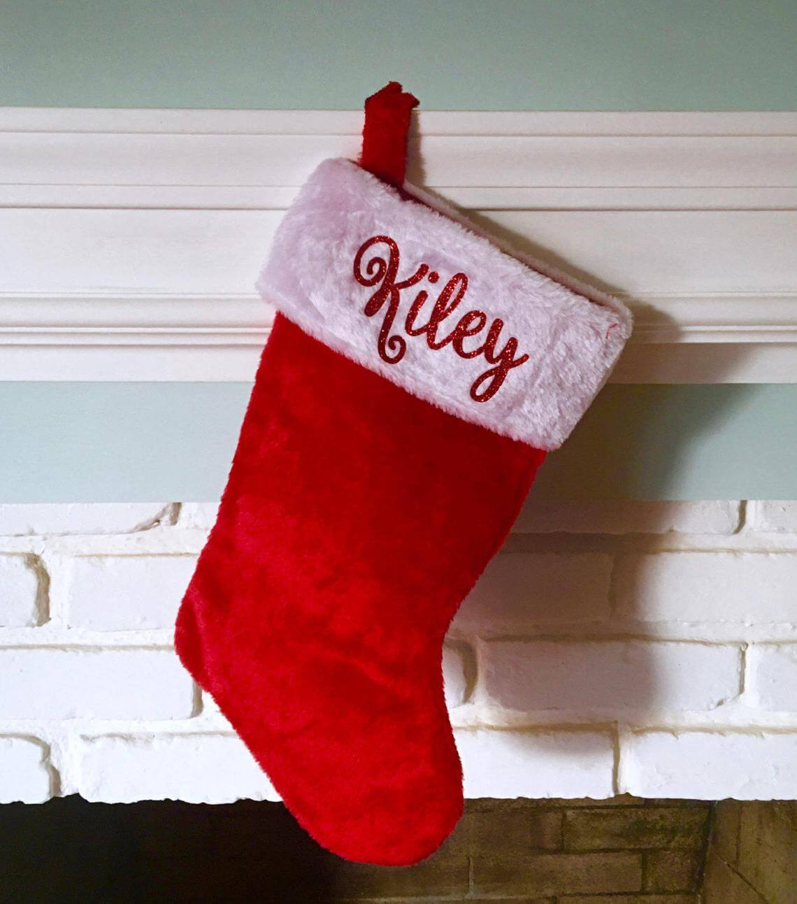 Red & White Stockings with Personalized Glitter Names