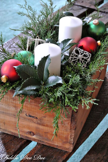 Christmas Crate Centerpiece with Fresh Greenery