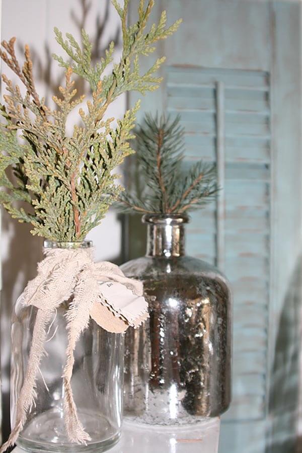 Lovely and Fresh Evergreen Sprig Vases
