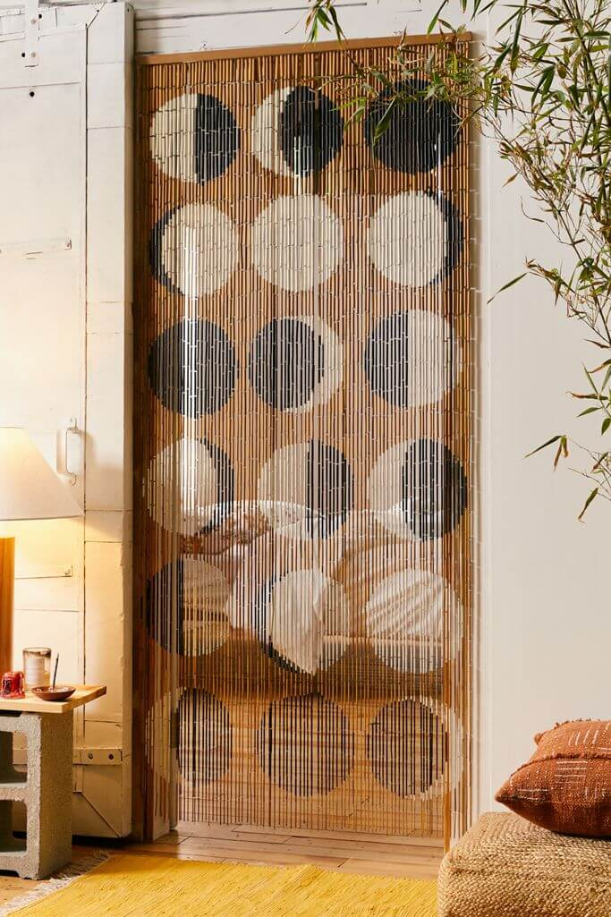 Moon Phases Bamboo Doorway Curtain