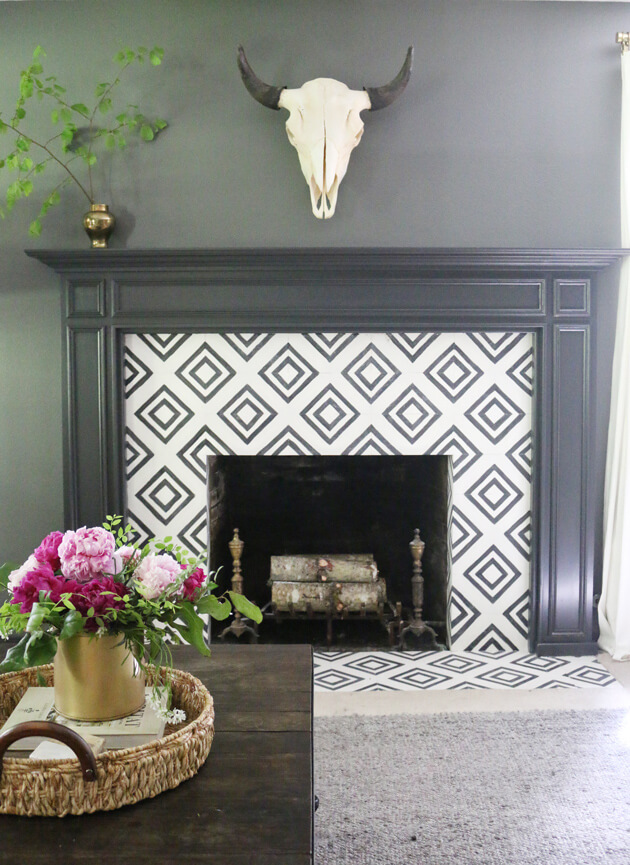 Black Mantel with Black and White Tile