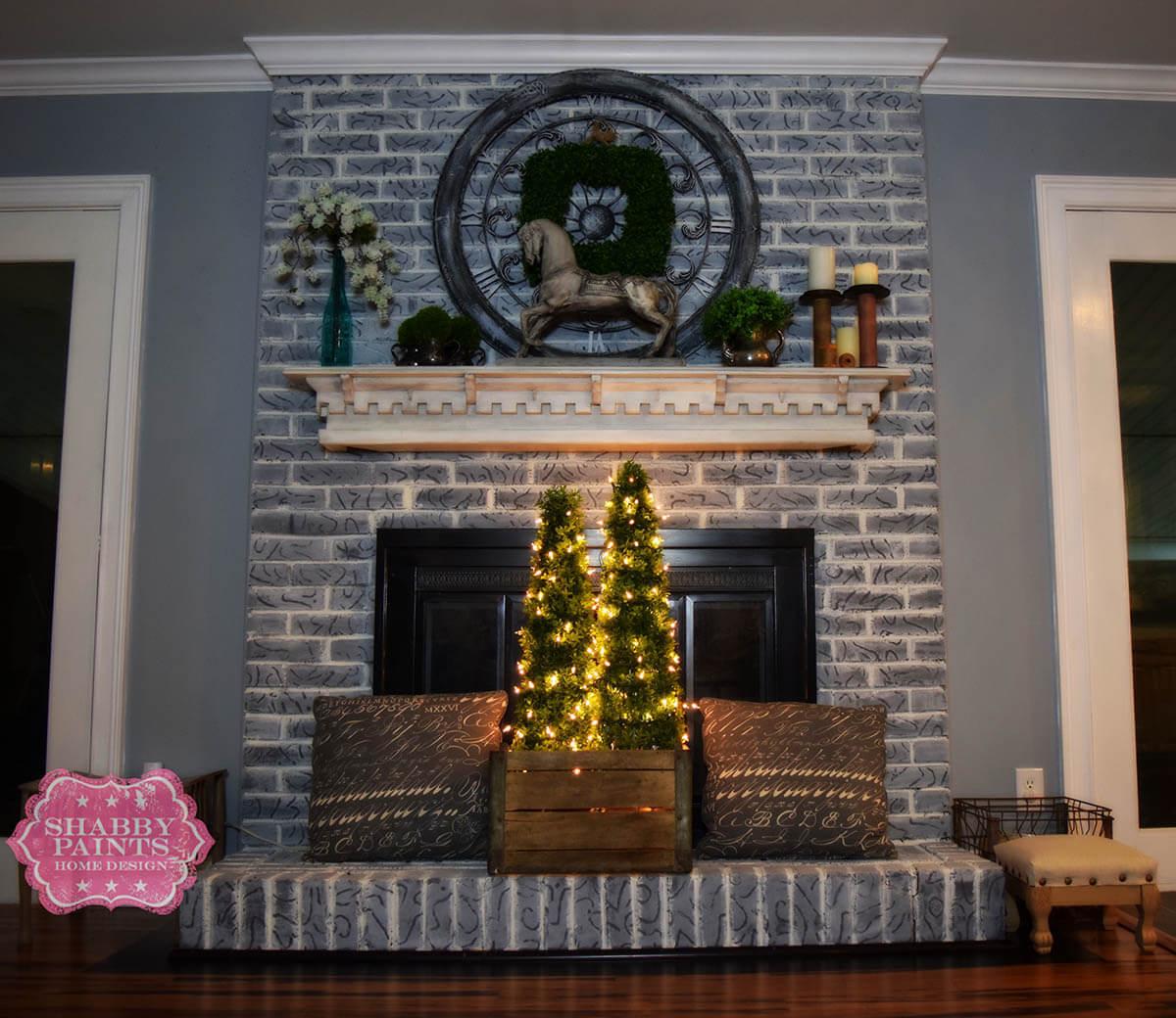 Aged Gray Brick Fireplace Transformation