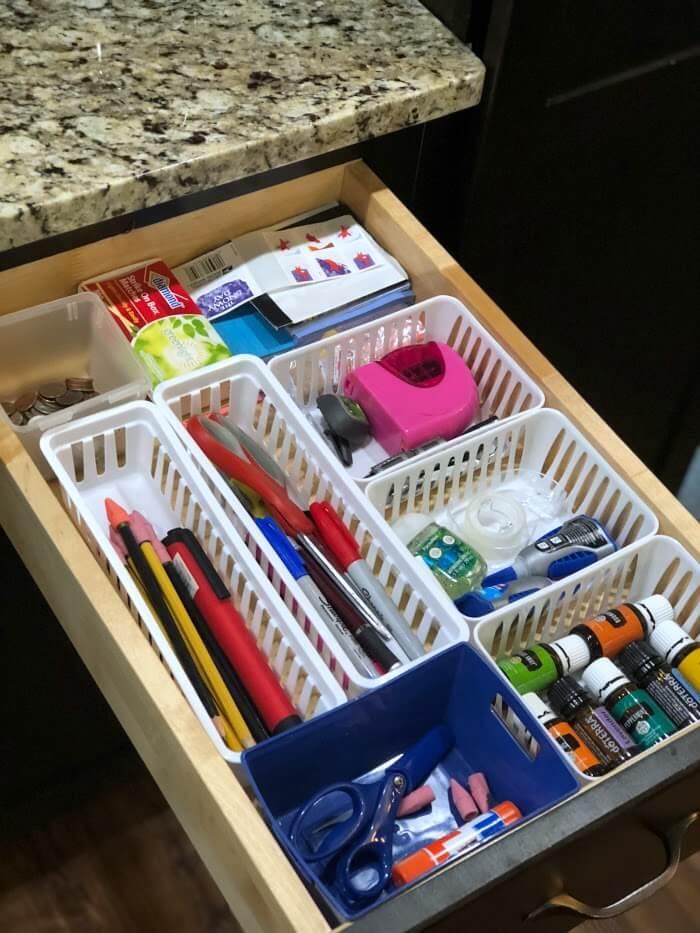 Divided Organized Kitchen Junk Drawer