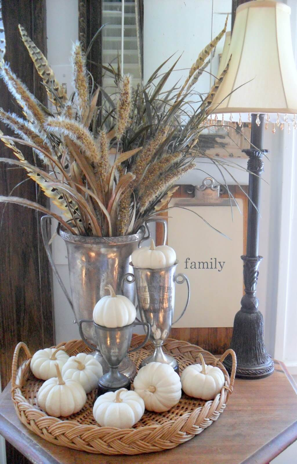 Metallic Meets Feathers and Grains Urn Showstopper