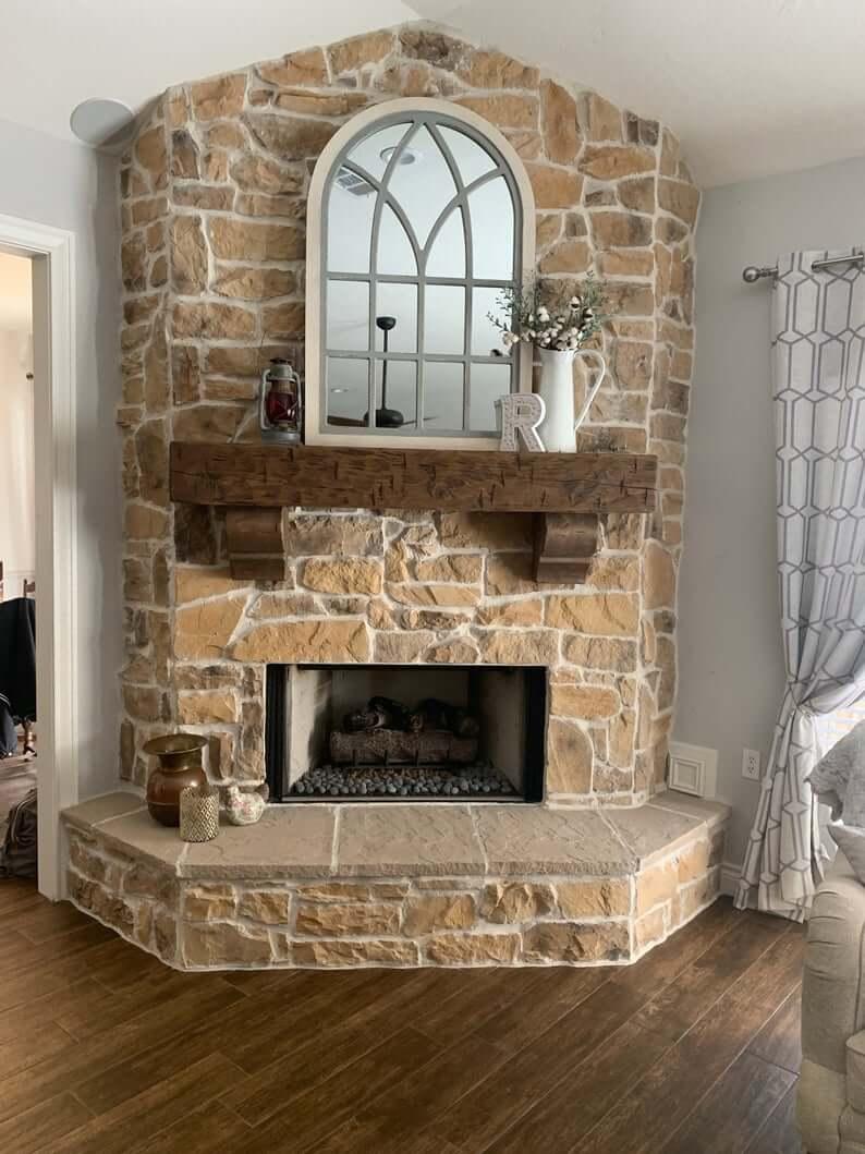 Chunky Rustic Pine Beam Fireplace Mantel
