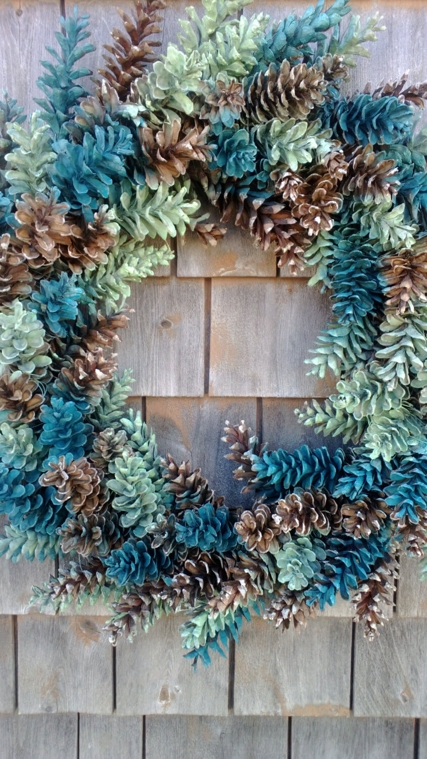 Welcoming Multi-Colored Pinecone Wreath
