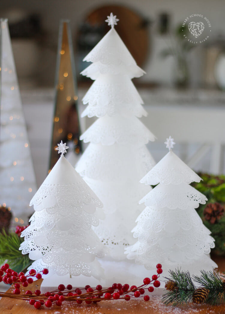 Elegant Paper Doily Christmas Trees