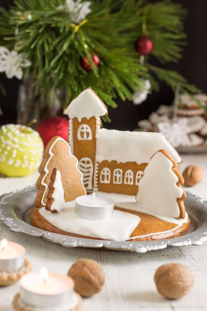 Miniature Gingerbread Village with Tea Light