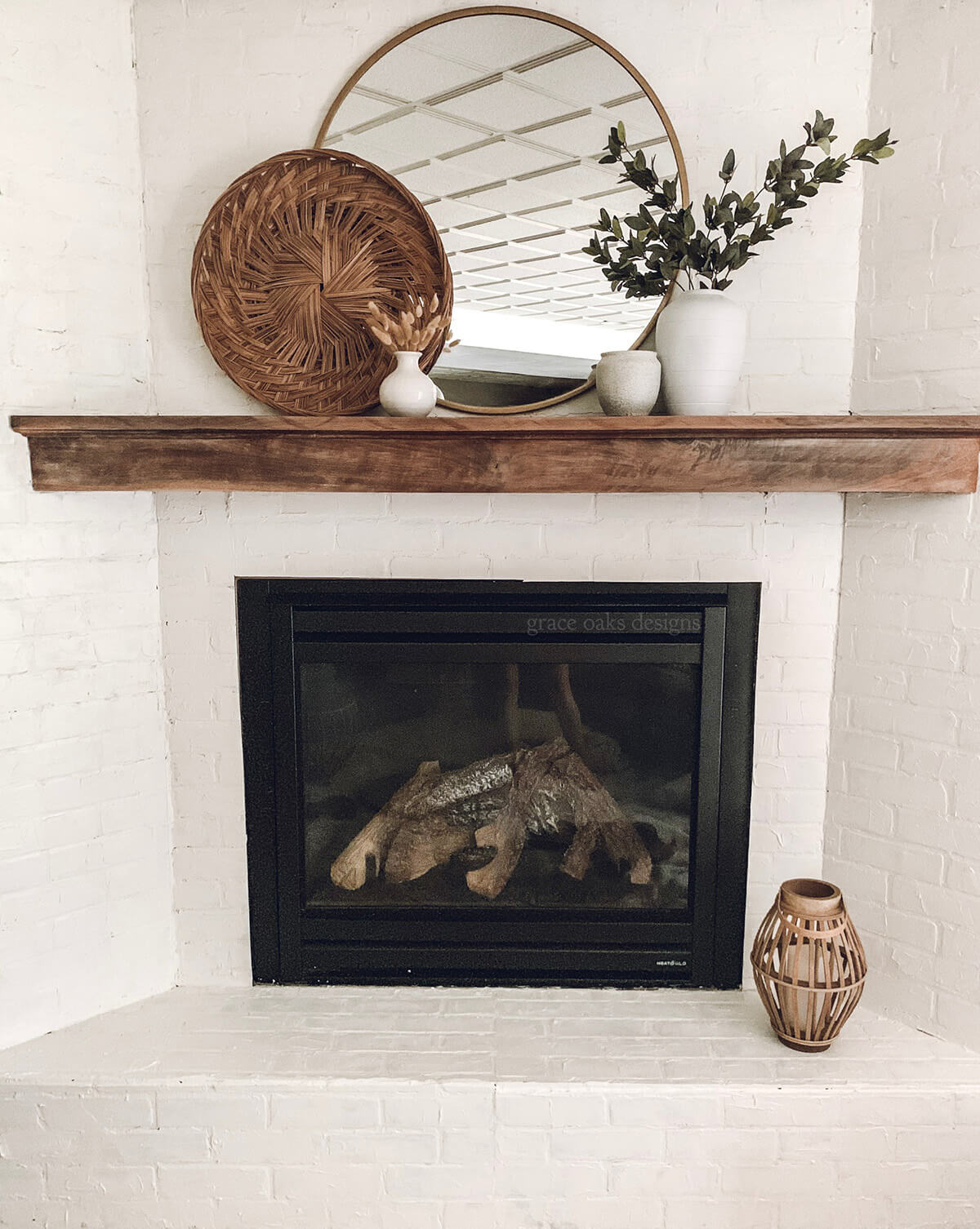 White Brick Painted Corner Fireplace