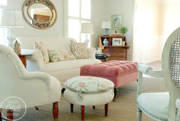 Feminine Sitting Room Filled with Sunshine
