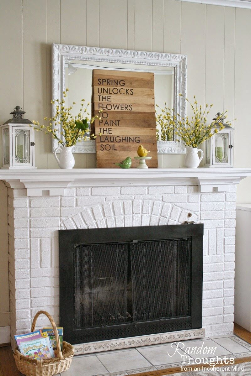 Adorable Shabby Chic Farmhouse Brick Fireplace