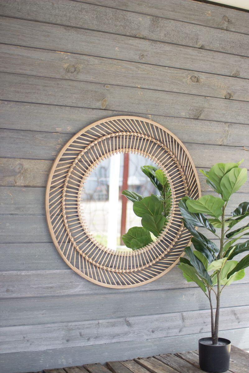 Round and Round We Go Bamboo Mirror