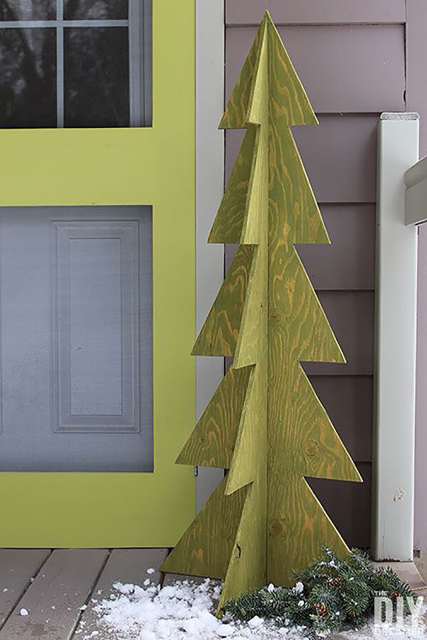 3D Freestanding Painted Wooden Christmas Tree