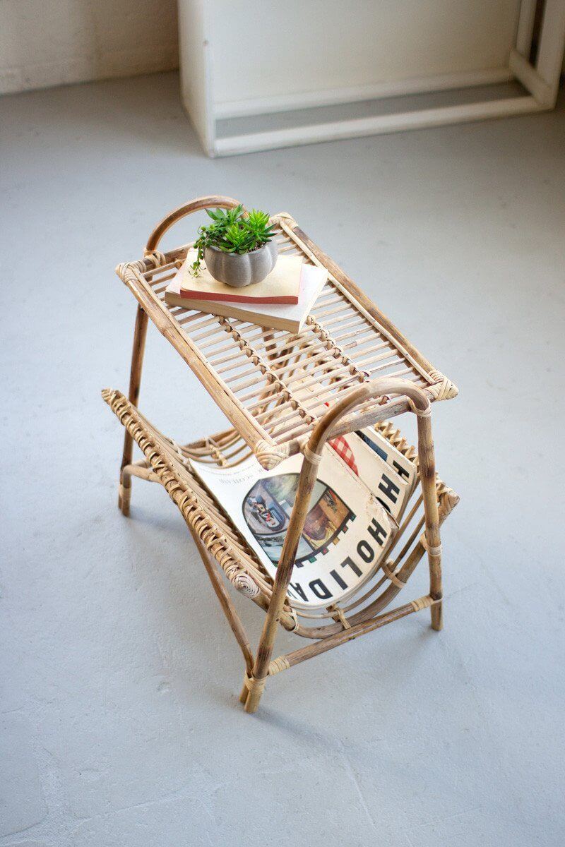 Bamboo Magazine Rack and Small Stand