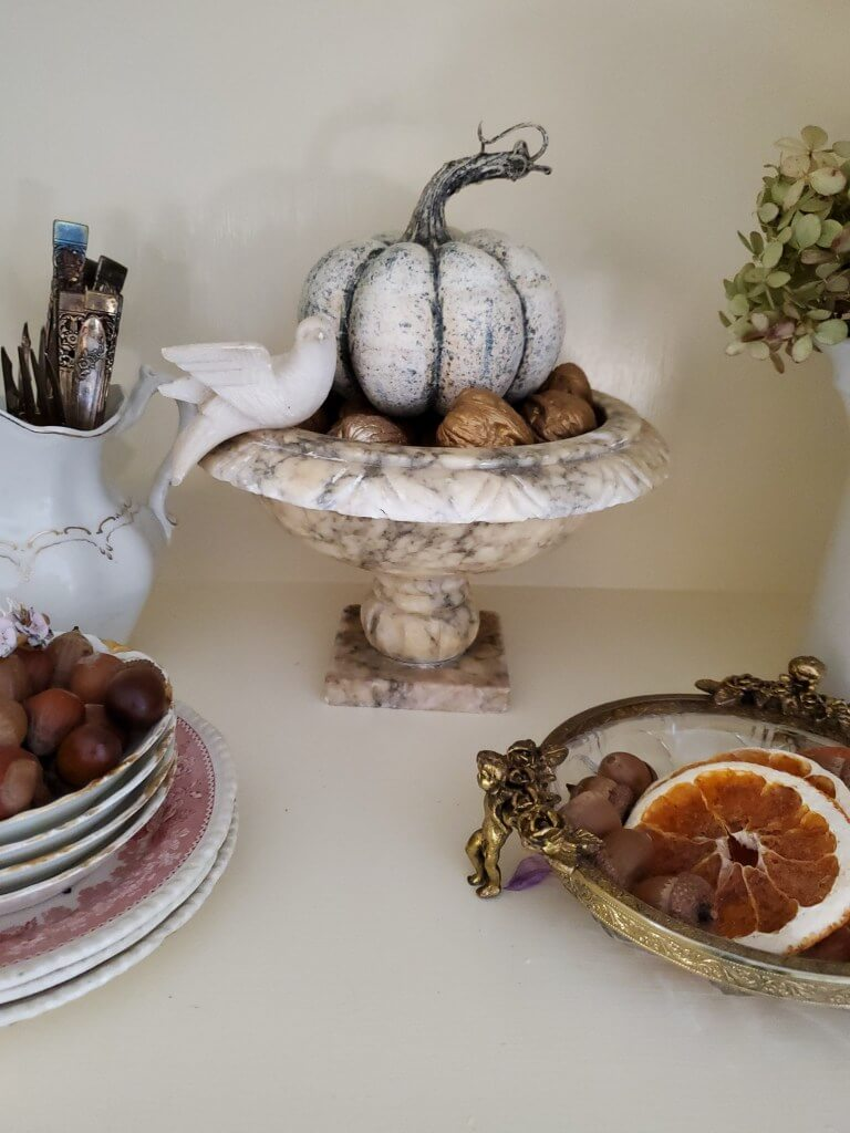 Decadent Marble Urn Bowl with Pumpkin