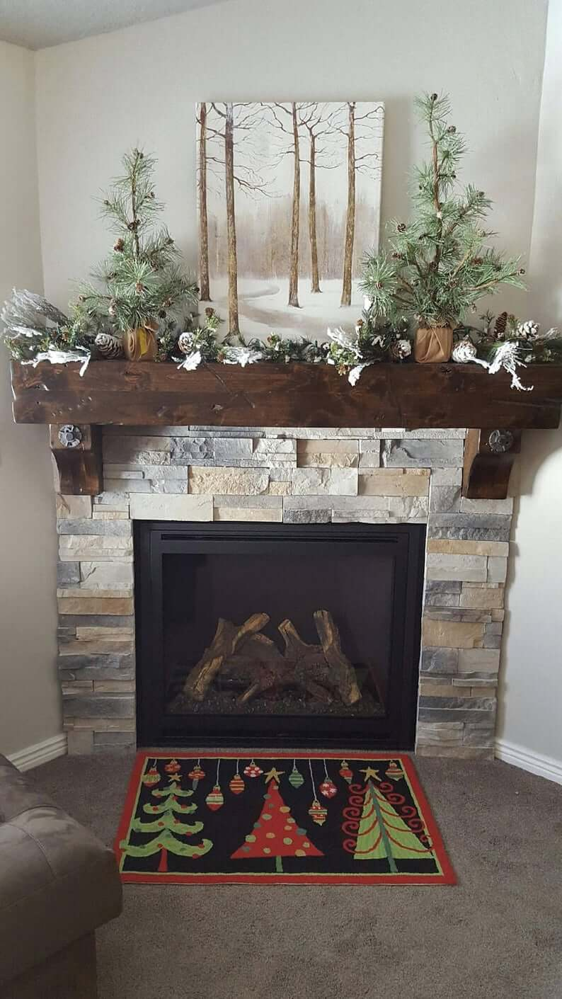 Salvaged and Distressed Barn Wood Fireplace Mantel