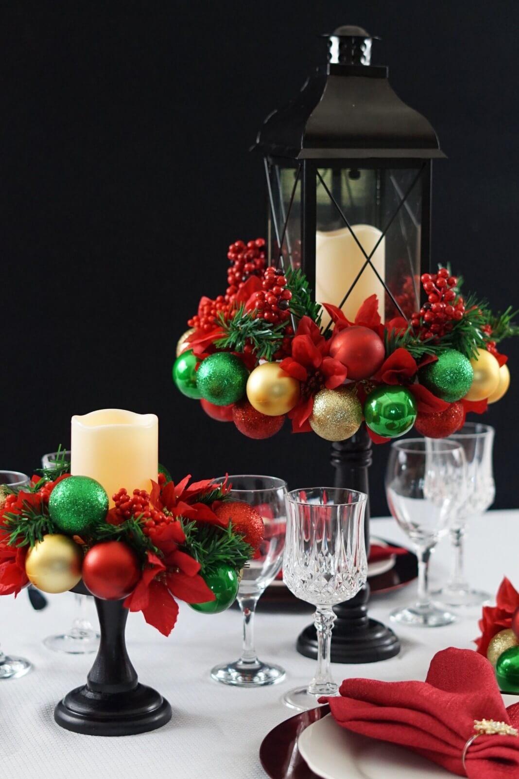 Raised Lantern and Christmas Ornament Centerpiece