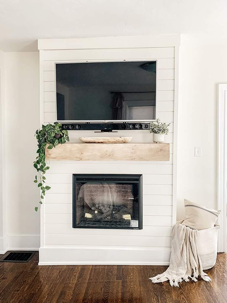 Seamless Shiplap Covered Modern Farmhouse Fireplace