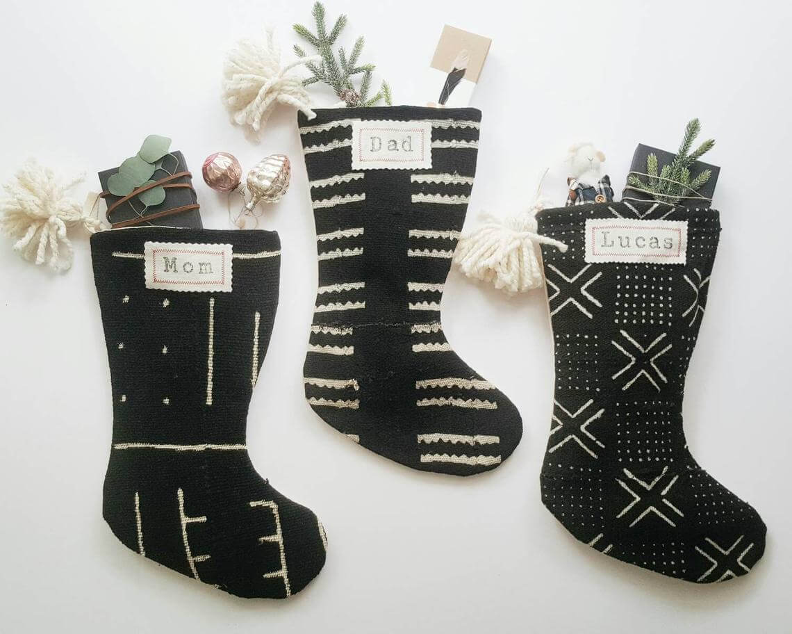 Handcrafted Black and White Mudcloth Stockings