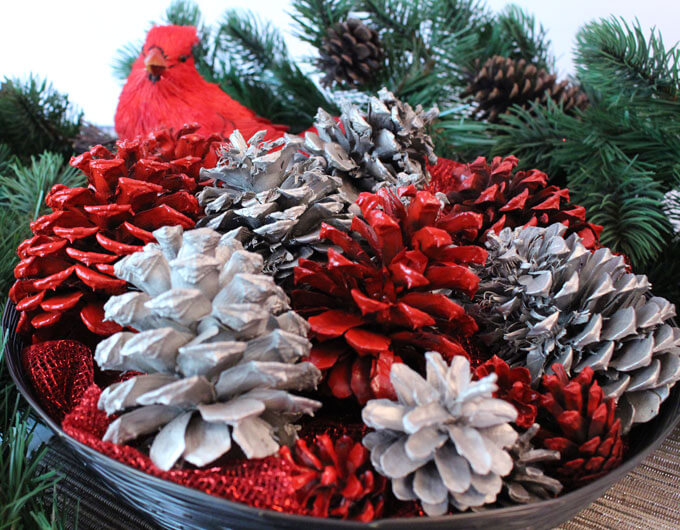 Decorative Multicolored Painted Pinecone Display