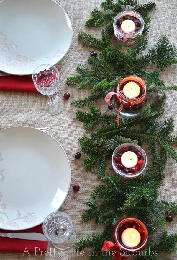 Farmhouse Christmas Mason Jar Centerpiece with Cranberries