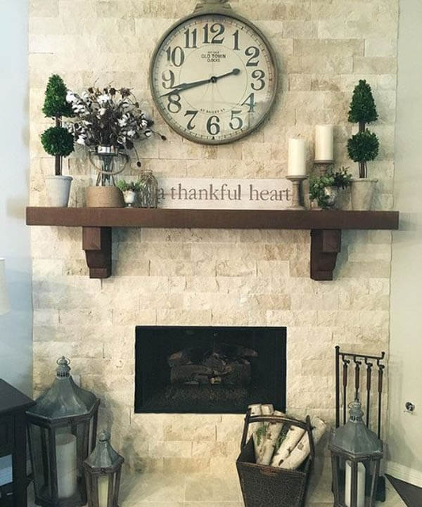 Rustic Stone Brick with Recessed Fireplace