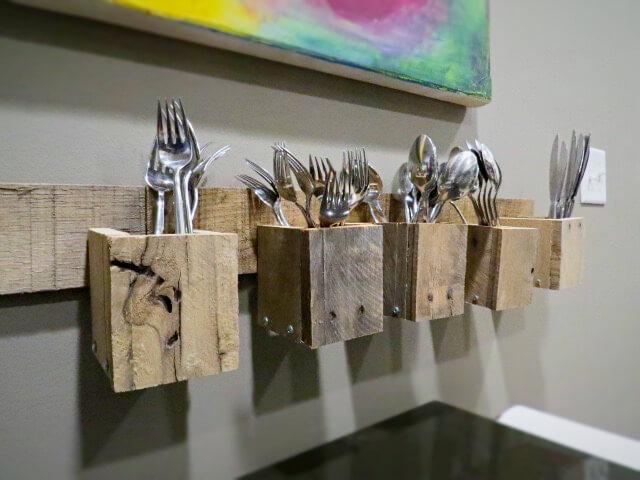 Wall Mounted Pallet Wood Silverware Holders