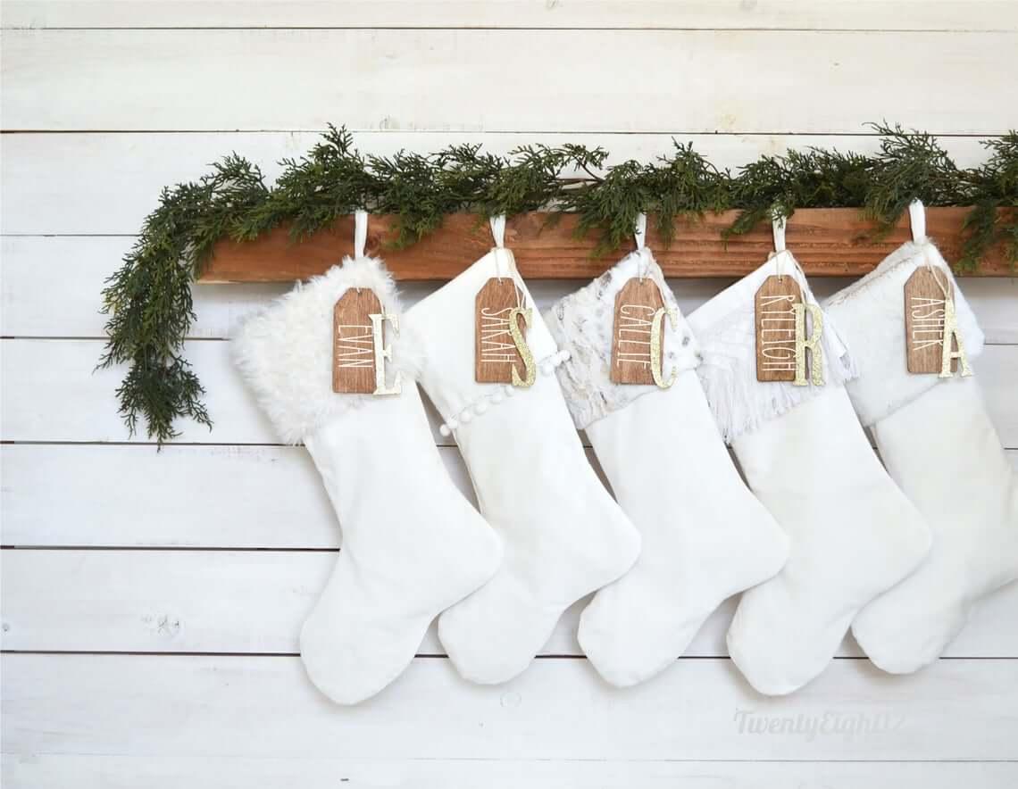 Whimsical White Velvet Stockings with Glitter Embellishments