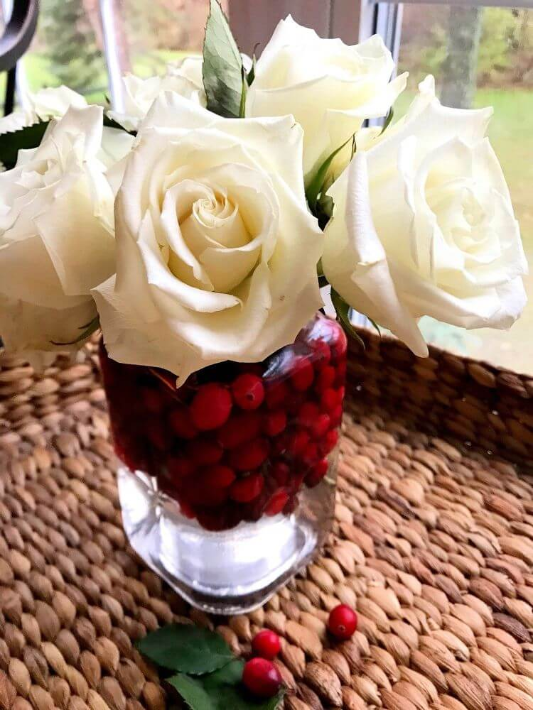 Simple Flower Bouquet with Cranberries for Christmas