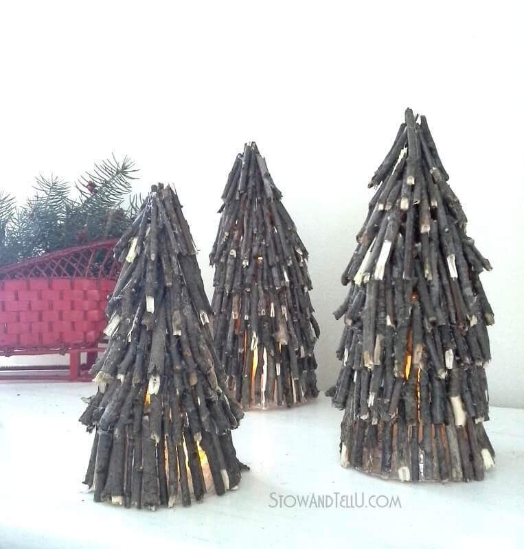Twig Tree Rustic Luminary Decorations