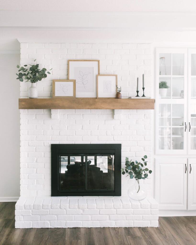 Simply Chic Farmhouse White Brick Fireplace Idea