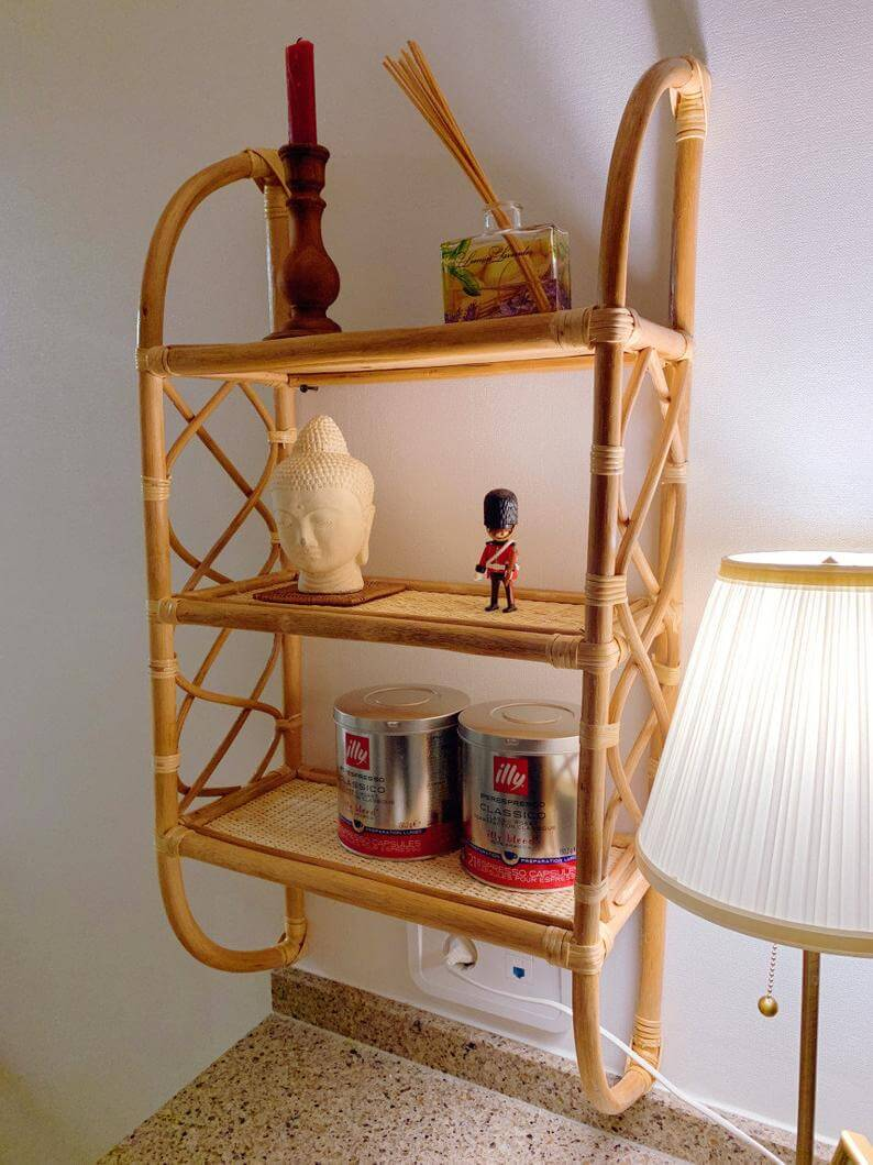 Blonde Bamboo Three-Tiered Wall Shelf