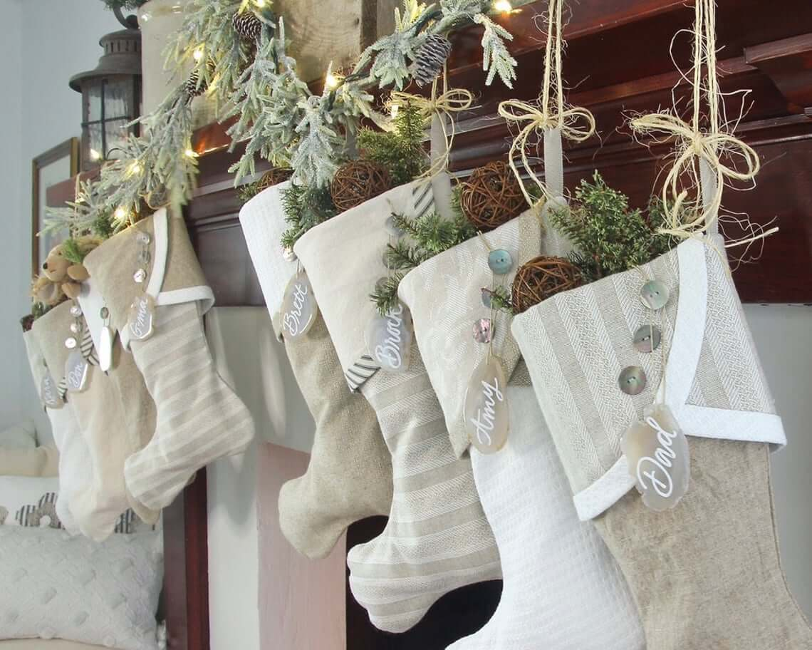 Coordinating Neutral Stockings with Shell Button Embellishments