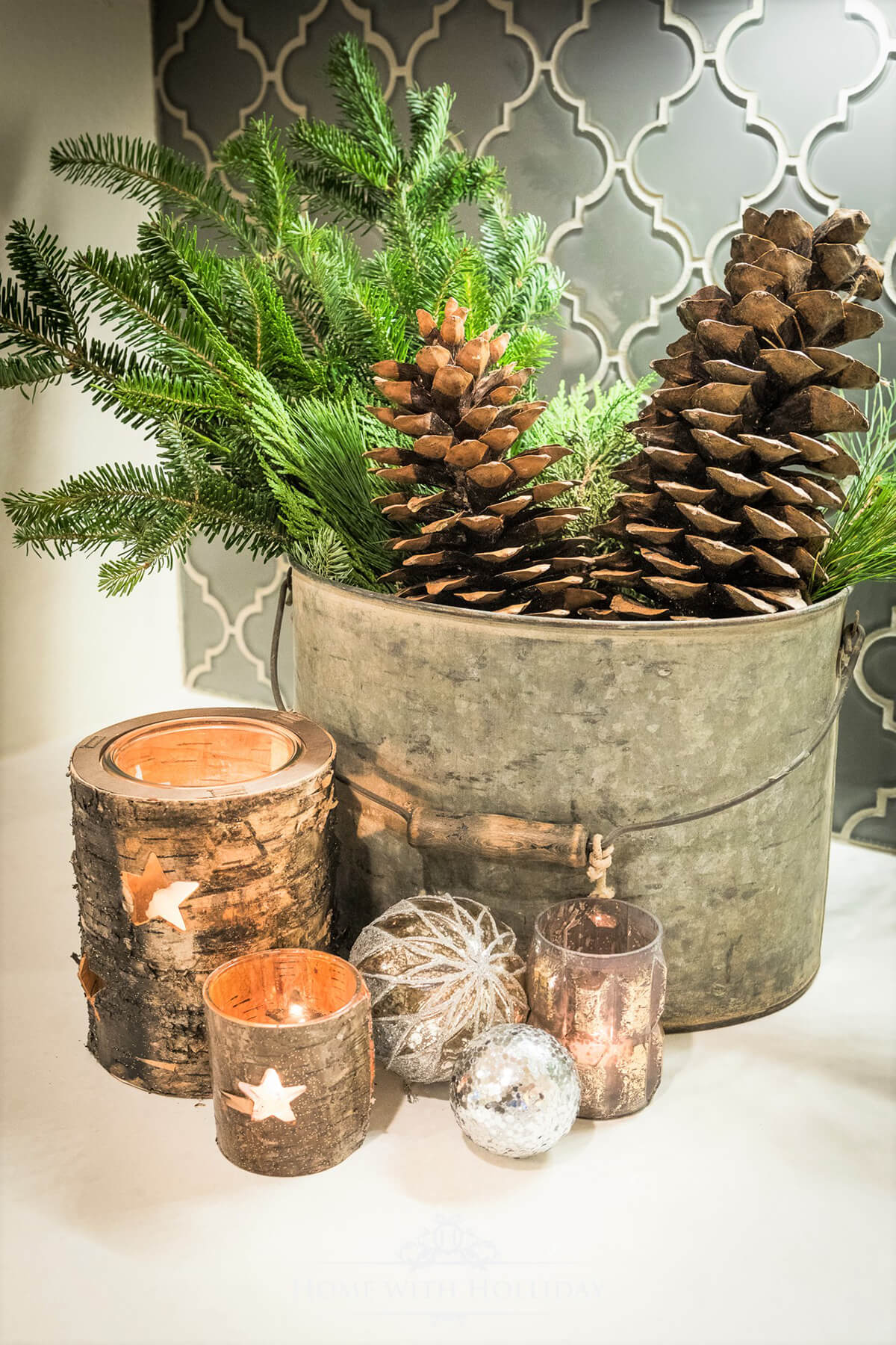 Pinecones, Candles, and Overflowing Buckets Decor