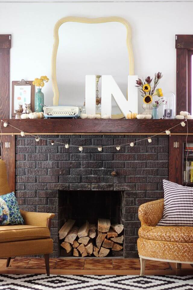Delightfully Eclectic Fall Mantel Home Decor Idea
