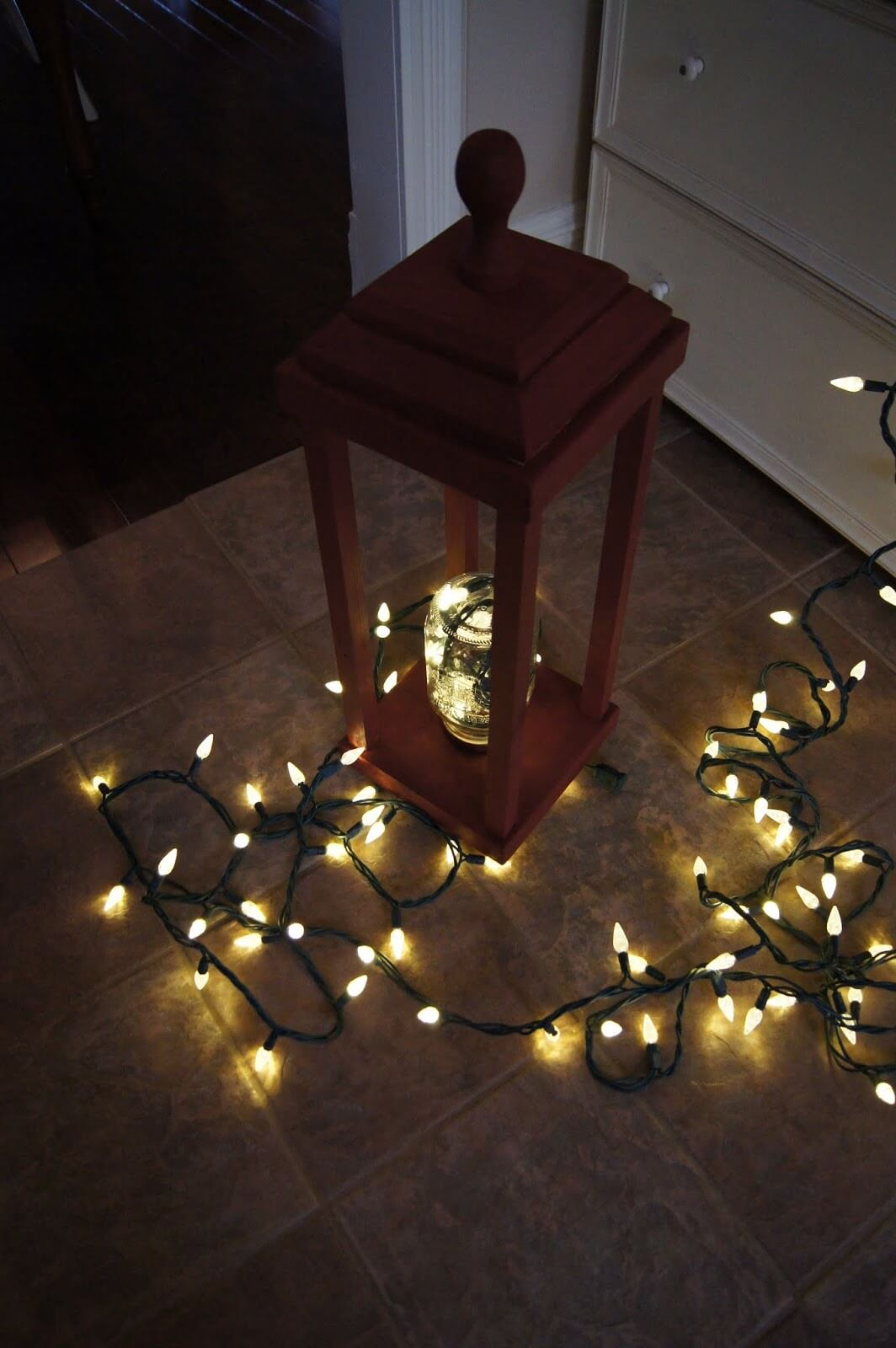 Charming Wooden Lantern with Mason Jar Light