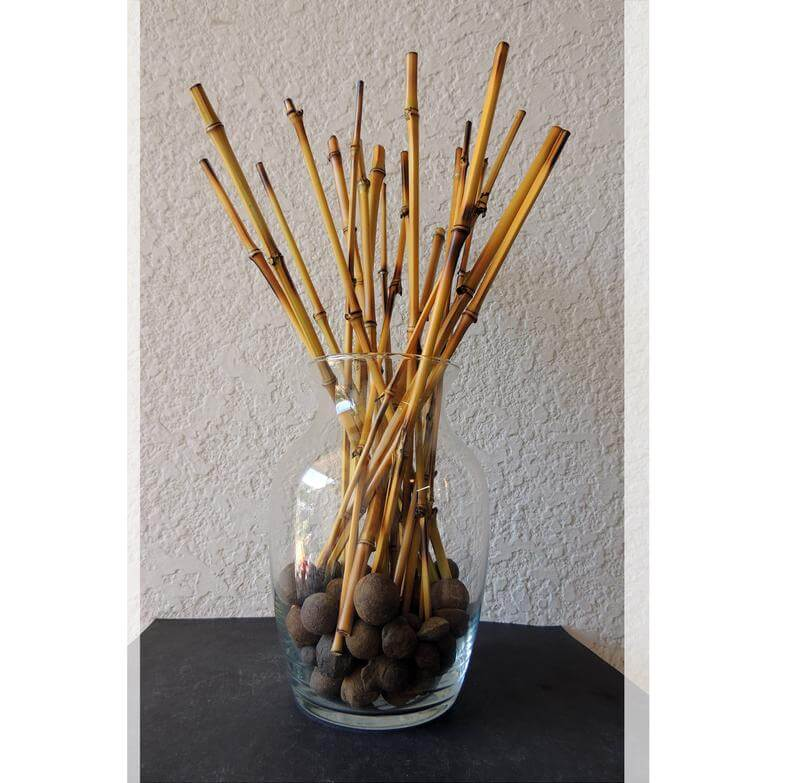Glass Vase Filled with Bamboo Sticks