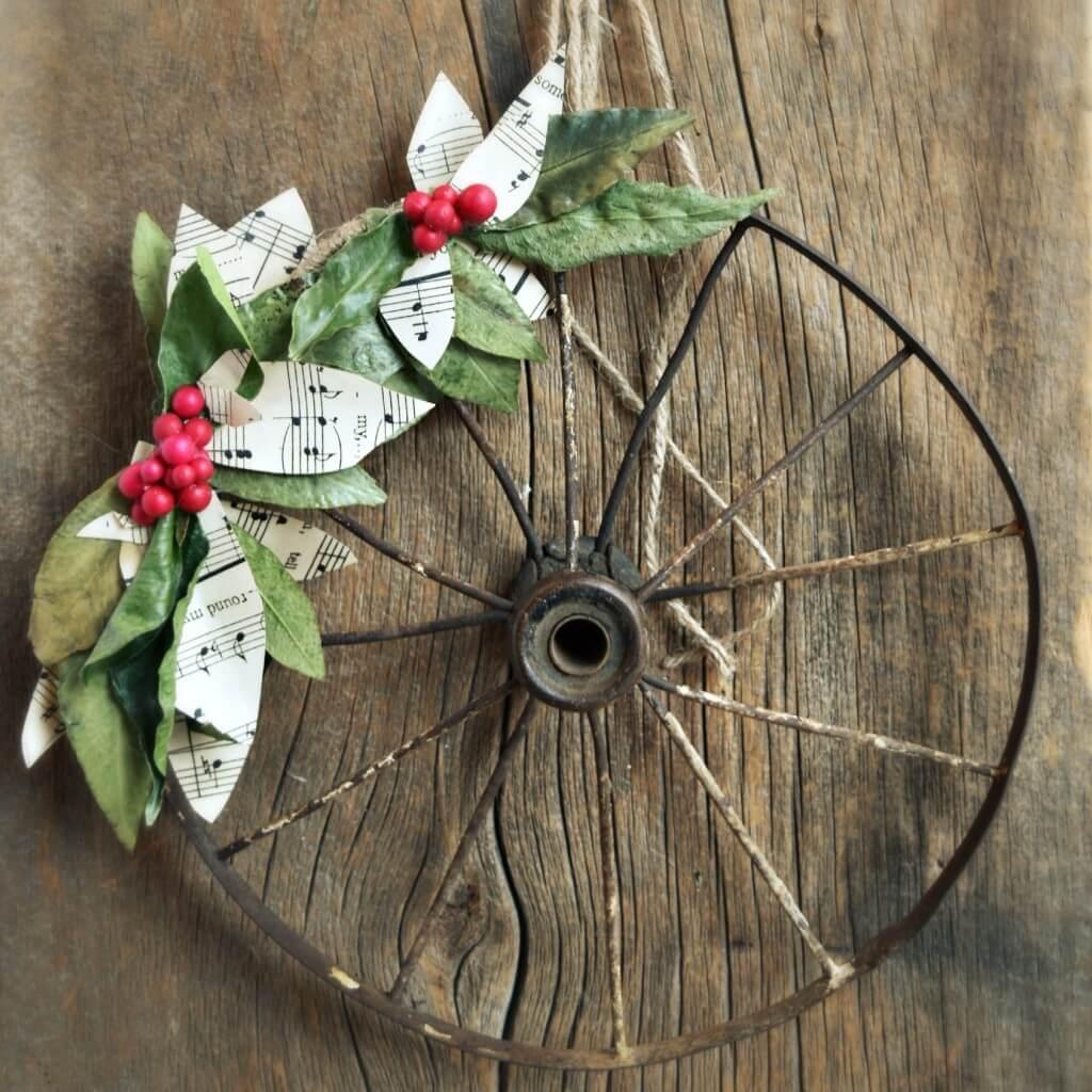Rustic Wagon Wheel Christmas Melody Wreath