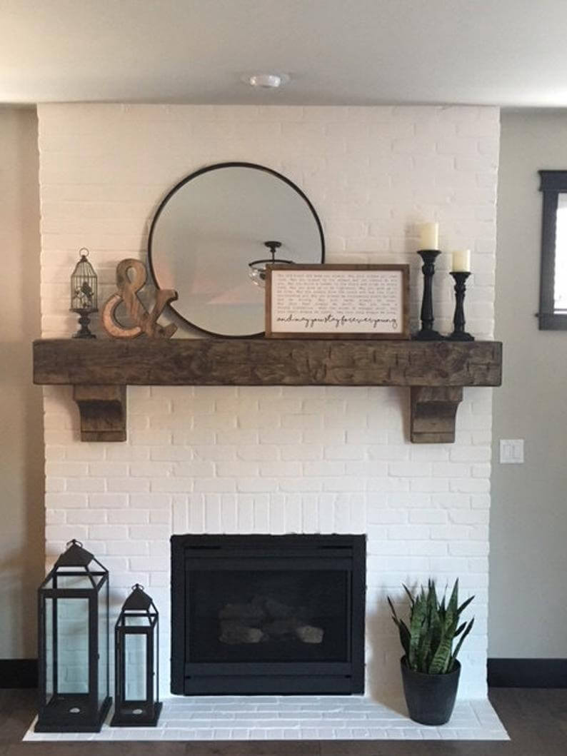 Chunky Textured Wooden Mantel for Your Fireplace