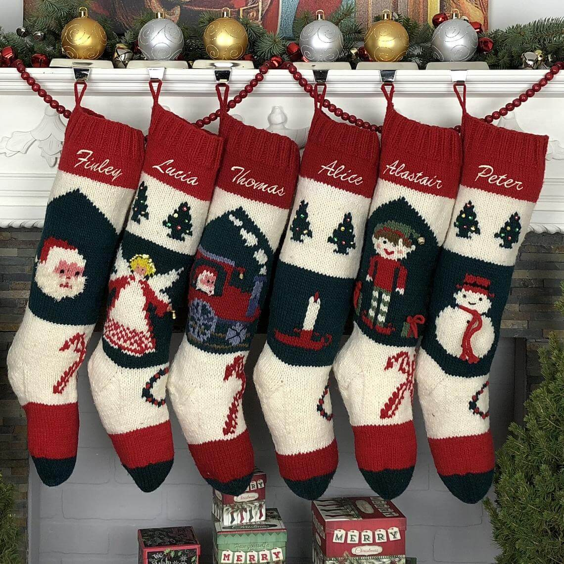 Hand Knitted Vintage Character Stockings
