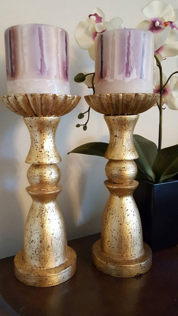 Rugged Gold Thick Candle Holders
