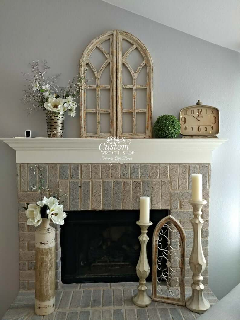 Antique Style Window Frame for Brick Fireplace Mantel