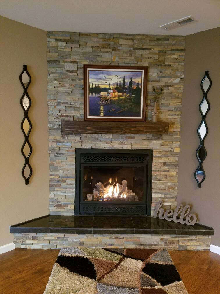 Reclaimed Rugged Wood Floating Fireplace Mantel