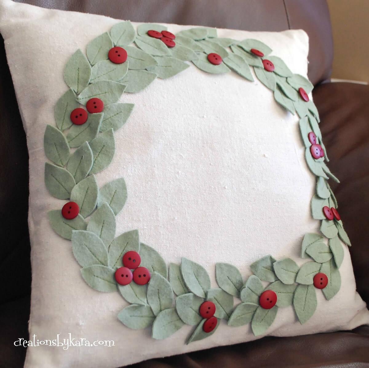 Festive Felt and Buttons Holly Wreath Pillow