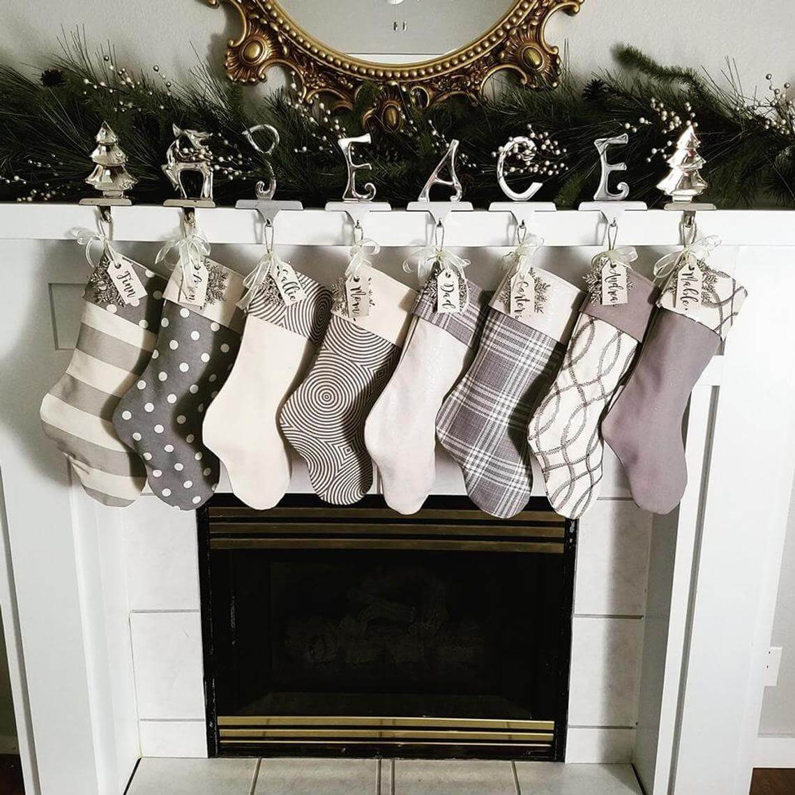 Coordinating Gray Stockings with Embroidered Name Tags