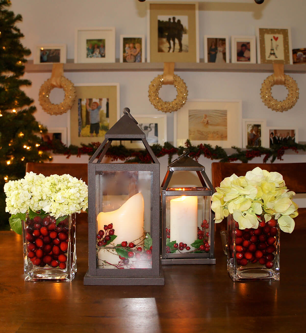 Fresh Cranberry and Flower Christmas Centerpiece