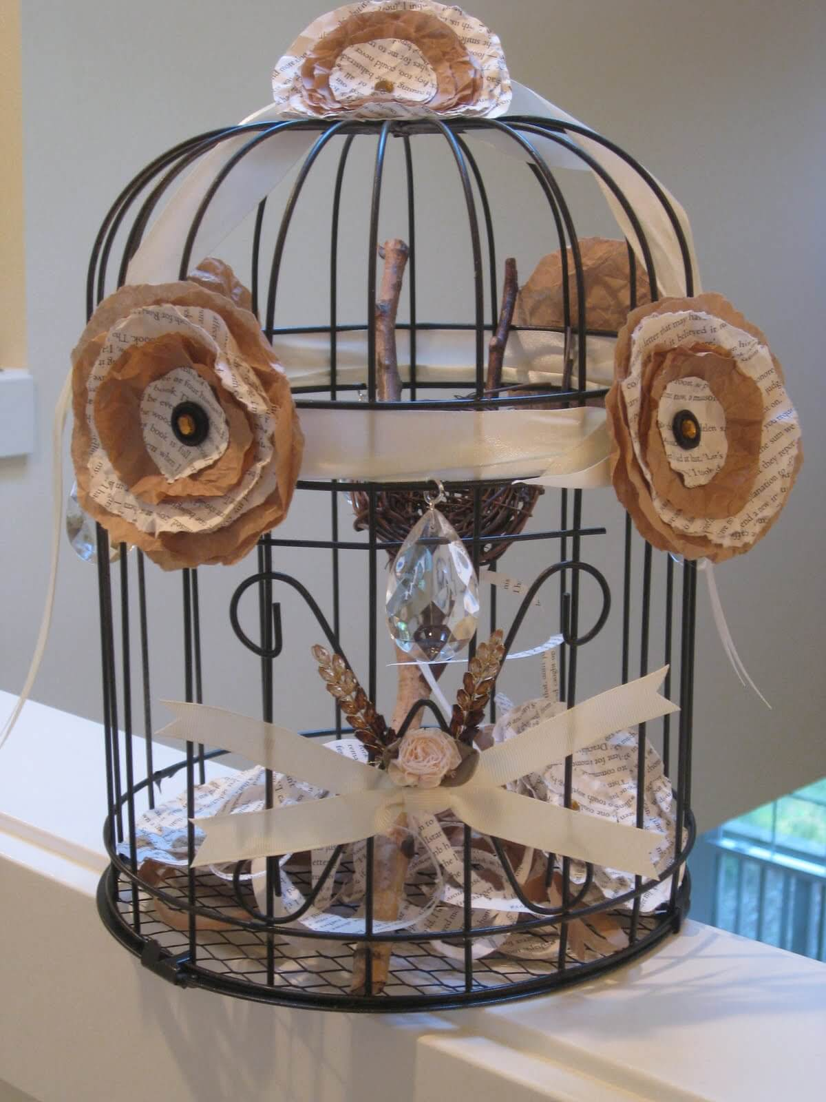 Truly Original Birdcage Adorned with Paper Flowers