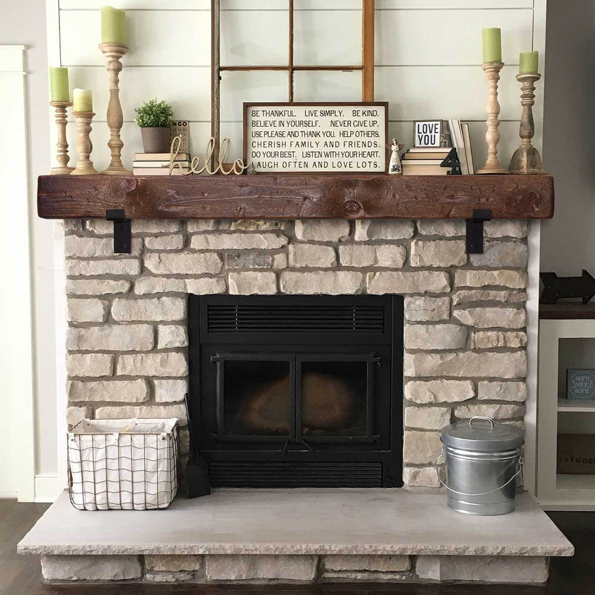 Unique Barn Beam Mantle with Black Metal Brackets
