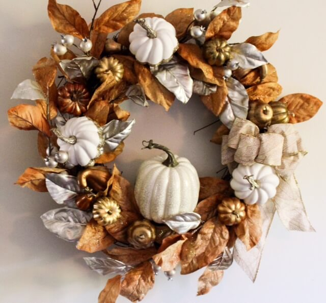 Warm and Ruddy Brown and White Wreath