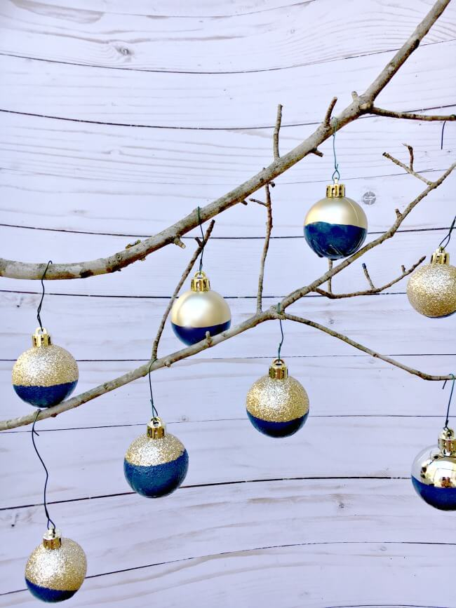 DIY Dipped Gold and Blue Ornaments